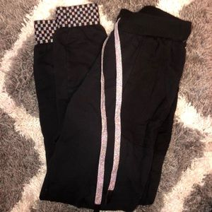 Terez black and sparkle joggers with checkered
